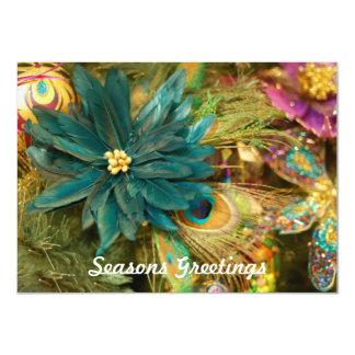 Julkort för lägenhet för påfågelfjäderjulstjärna 11,4 x 15,9 cm inbjudningskort