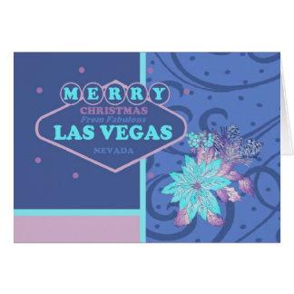 """""""Julkort för Las Vegas rosa-/blåttjulstjärna """", Hälsnings Kort"""