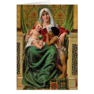 Julkort för Madonna babyJesus vintage Hälsningskort