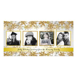Julkort för silver- och guldfamiljfoto fotokort
