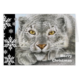 Julkort för snöLeopard Hälsningskort