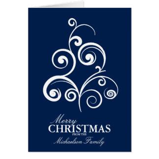 Julkort för Swirly trädpersonlig Hälsningskort