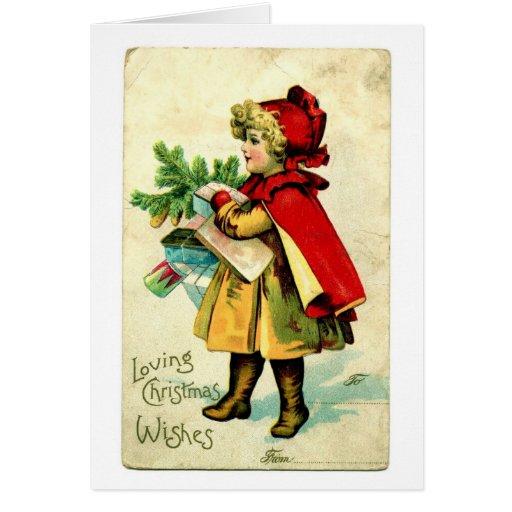 Julkort för vintage för Lil röd ridninghuva Hälsningskort