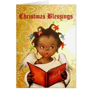 Julkort för vintageafrikansk amerikanängel OBS kort