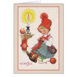 Julkort för vintagegudJul skandinav Hälsningskort