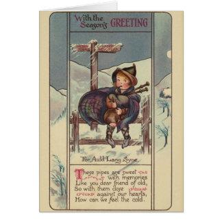 Julkort för vintagejulsäckpipa hälsningskort