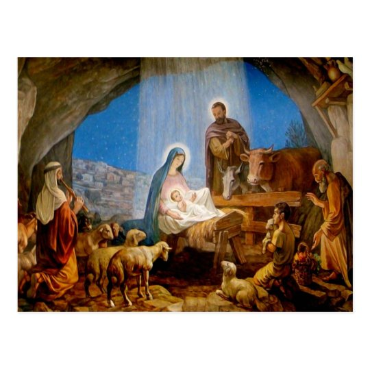 Julkort, stallet i Betlehem Vykort