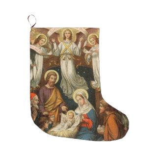 Julkrubba med änglarjulstrumpan stor julstrumpa