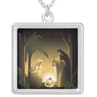 JulNativity Mary, Joseph och baby Jesus Silverpläterat Halsband