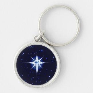 JulNativitystjärna Rund Silverfärgad Nyckelring