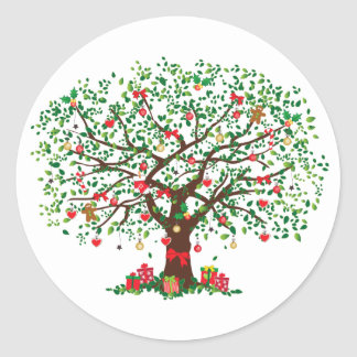 JulOakträd med presenter Runt Klistermärke