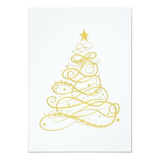 Julparty - guld- Filigree julgran 12,7 X 17,8 Cm Inbjudningskort