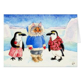 Julparty i Antarktis Hälsningskort