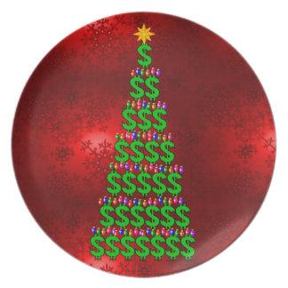 Julpengarträd Tallrik