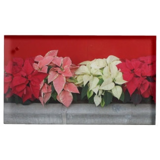 JulPointsettia blommor Bordskorthållare