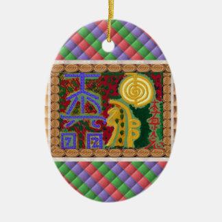 Julprydnaden Reiki styr att läka symboler Julgransprydnad Keramik
