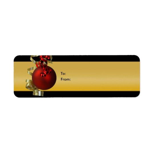 Julprydnadgåvan märker rött guld för rosett band returadress etikett