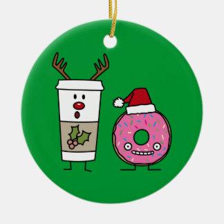 Julrenkaffe och Santa munk Julgransprydnad Keramik