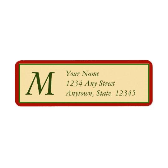 Julreturetiketter med monogramen returadress etikett
