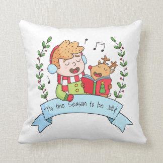 Julsånger pojke och rendekorativ kudde