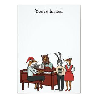 Julsånger runt om pianoinbjudan 12,7 x 17,8 cm inbjudningskort