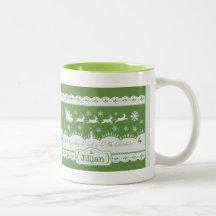 JulSanta Sleigh och renmugg Kaffe Koppar