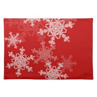 Julsnöflingor för flickaktigt röda och vit bordstablett