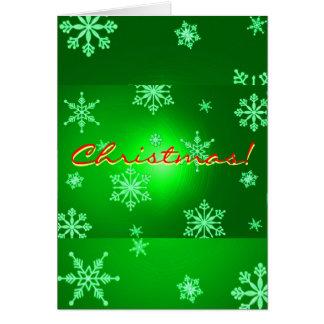 Julsnöflingor görar grön på engelskt hälsningskort