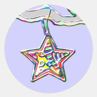 Julstjärna på isiggren runt klistermärke