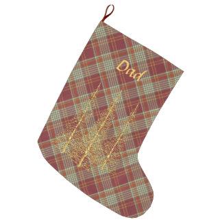 Julstrumpa för träd för röd pläd för Monogram