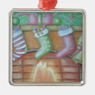 Julstrumpa Silverfärgad Fyrkantigt Julgransprydnad