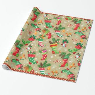 Julstrumpor och leksaker presentpapper