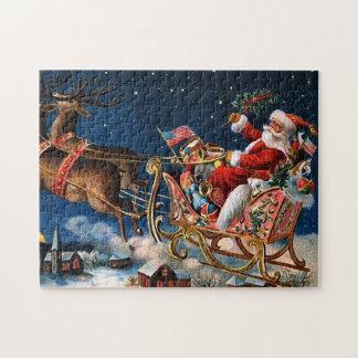 Jultomten är kommande till townen pussel