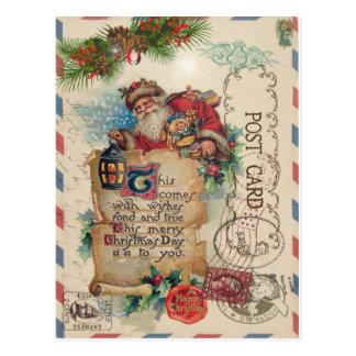 Jultomten för vykort för vintagejul flygpost