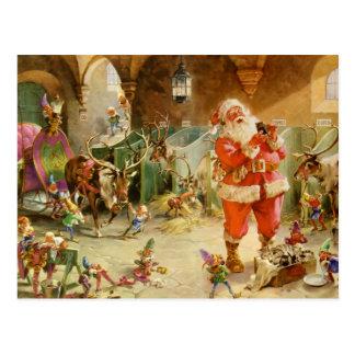 Jultomten i nordpolenrenstallen vykort