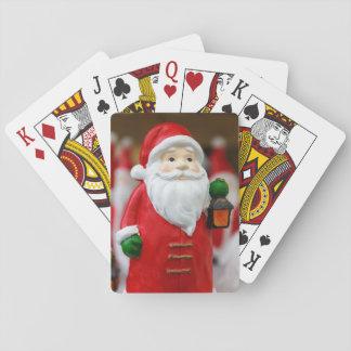 Jultomten med en lyktajuldekoration spelkort