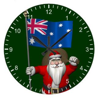 Jultomten med ensignen av Australien Stor Klocka