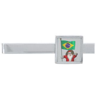 Jultomten med ensignen av Brasilien Slipsnål Med Silverfinish