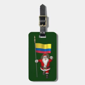 Jultomten med ensignen av Colombia Reselappar För Väskor