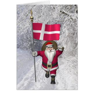 Jultomten med ensignen av Danmark Dannebrog Hälsningskort