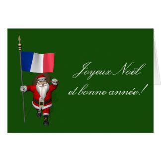 Jultomten med ensignen av frankriken hälsningskort