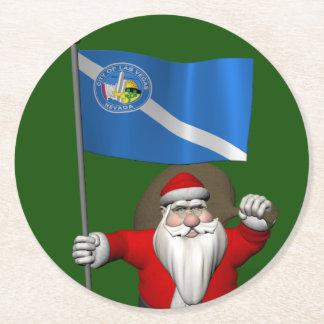 Jultomten med ensignen av Las Vegas Underlägg Papper Rund