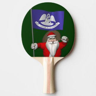 Jultomten med ensignen av Louisiana Pingisracket