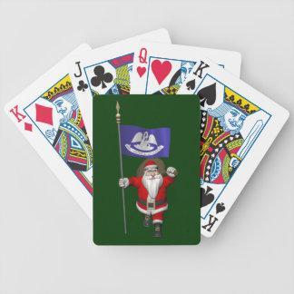 Jultomten med ensignen av Louisiana Spelkort
