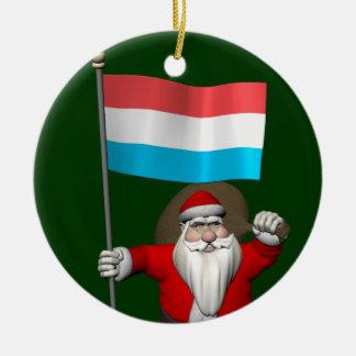 Jultomten med ensignen av Luxembourg Julgransprydnad Keramik