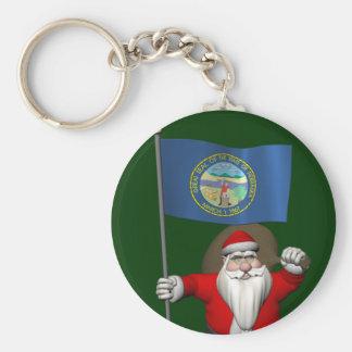 Jultomten med ensignen av Nebraska Rund Nyckelring