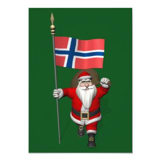 Jultomten med ensignen av norgen 12,7 x 17,8 cm inbjudningskort