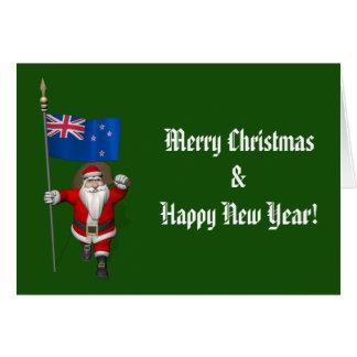 Jultomten med ensignen av nyazeeländskt hälsningskort