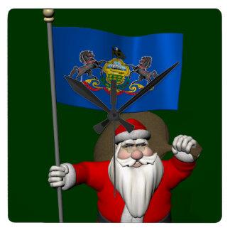 Jultomten med ensignen av Pennsylvania Fyrkantig Klocka