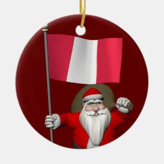 Jultomten med ensignen av Peru Julgransprydnad Keramik